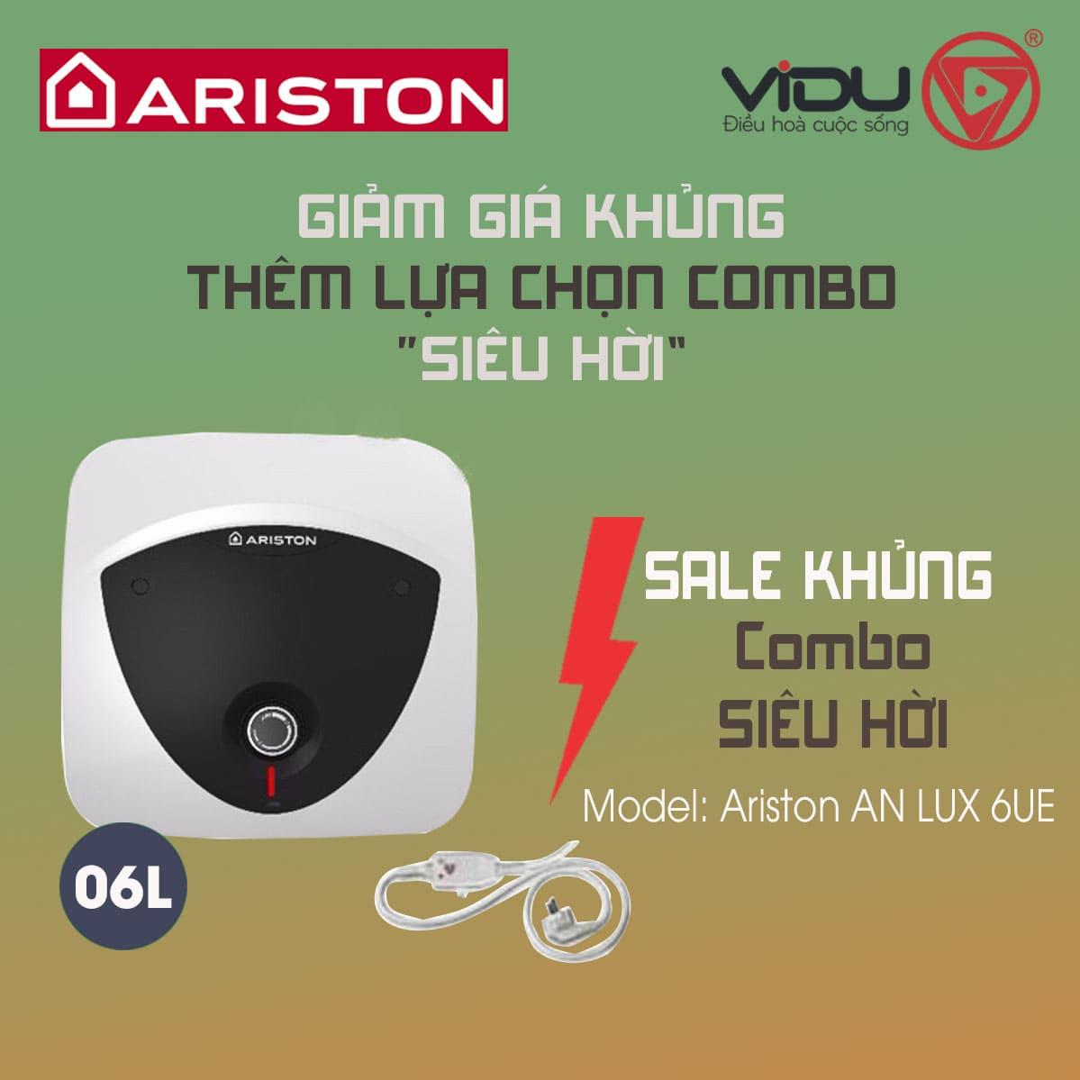 Bình nóng lạnh 6L Ariston AN LUX 6 UE 1.5 FE (oversink – lắp trên)