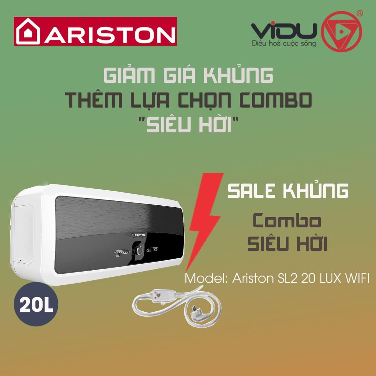 Bình nóng lạnh gián tiếp Ariston 20L SL2 20LUX WIFI
