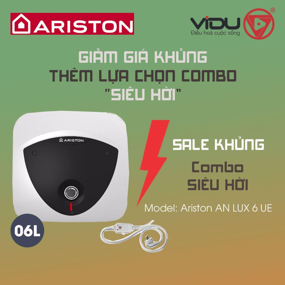 Bình nóng lạnh Ariston 6L AN LUX 6 UE 1.5 BE (oversink – lắp trên)