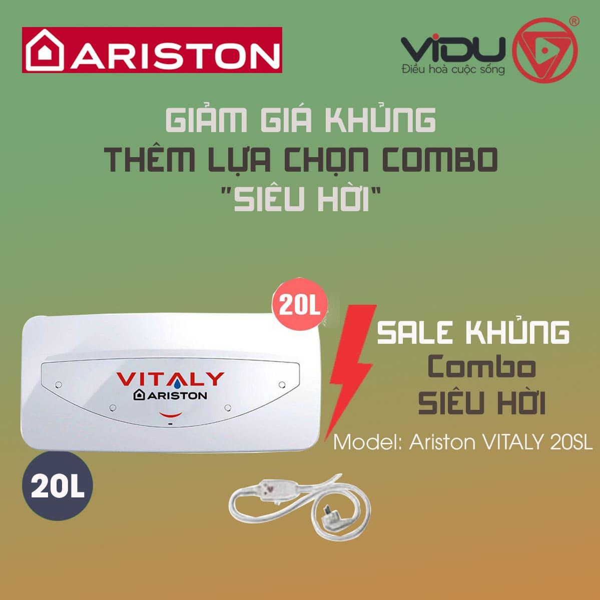 Bình nóng lạnh Ariston chống giật VITALY 20SL 20 lít